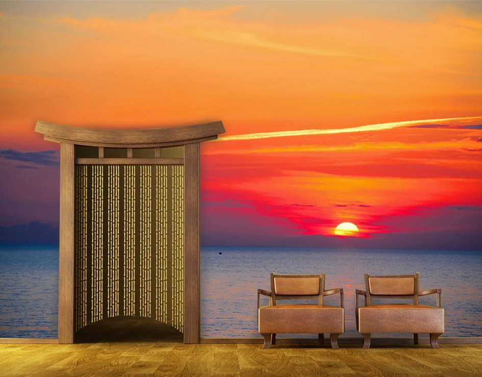 Sunset Wall Mural  Beach Themed Wall Murals  StickerBrand