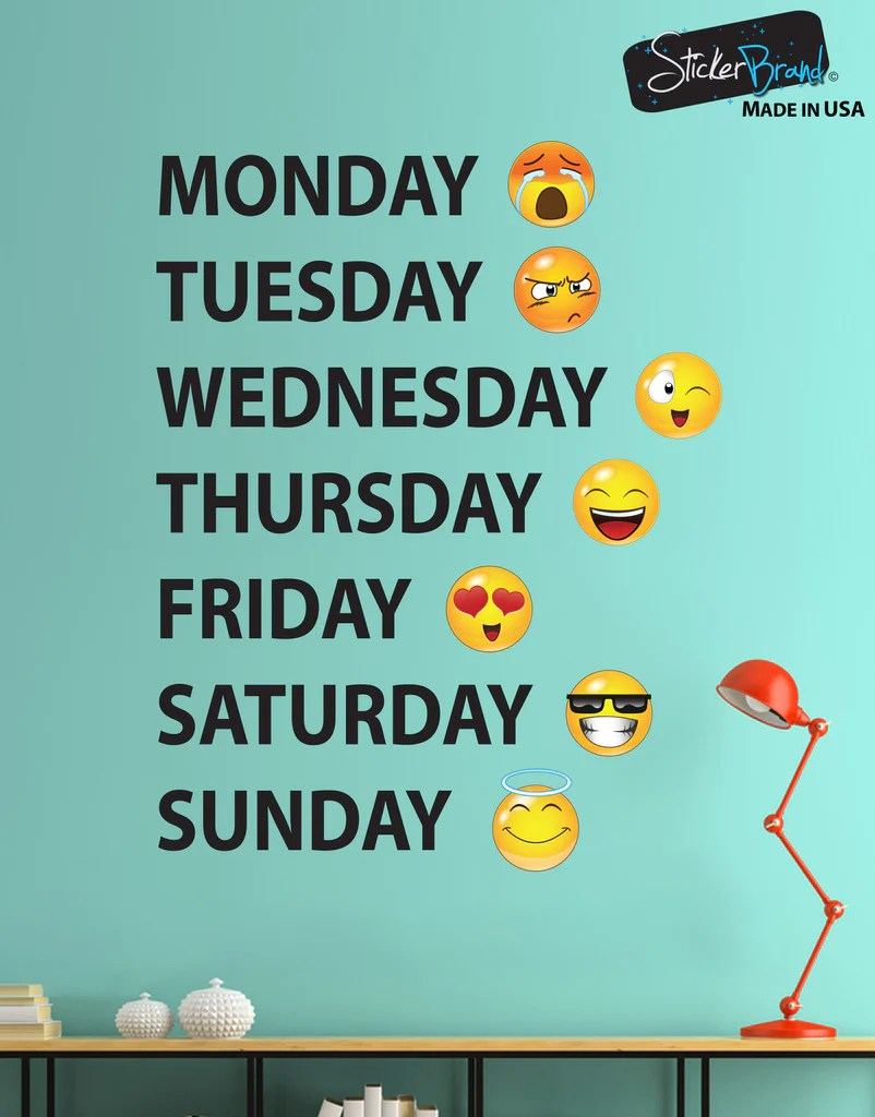 Wallpaper On Bedroom Wall Quotes Days Of The Week Emojis Vinyl Wall Decal Sticker 6071