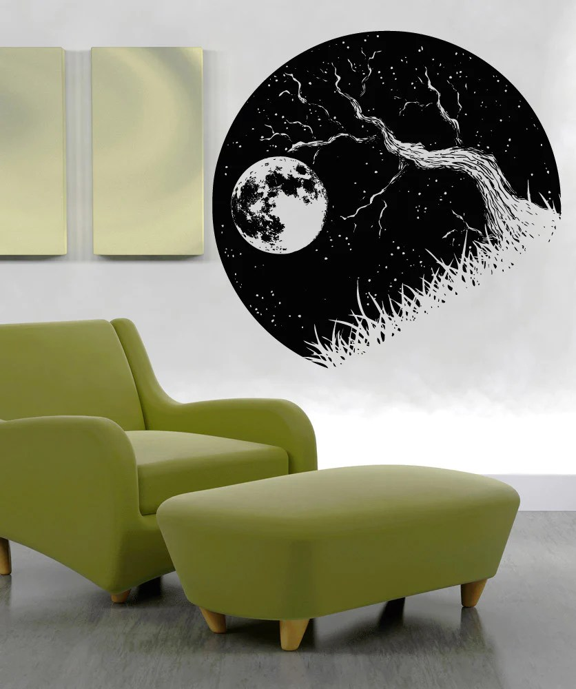Vinyl Wall Decal Sticker Tree Branch and Moon OS_AA1562
