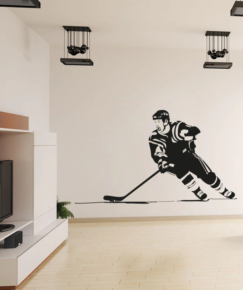 vinyl wall decal sticker hockey player os aa