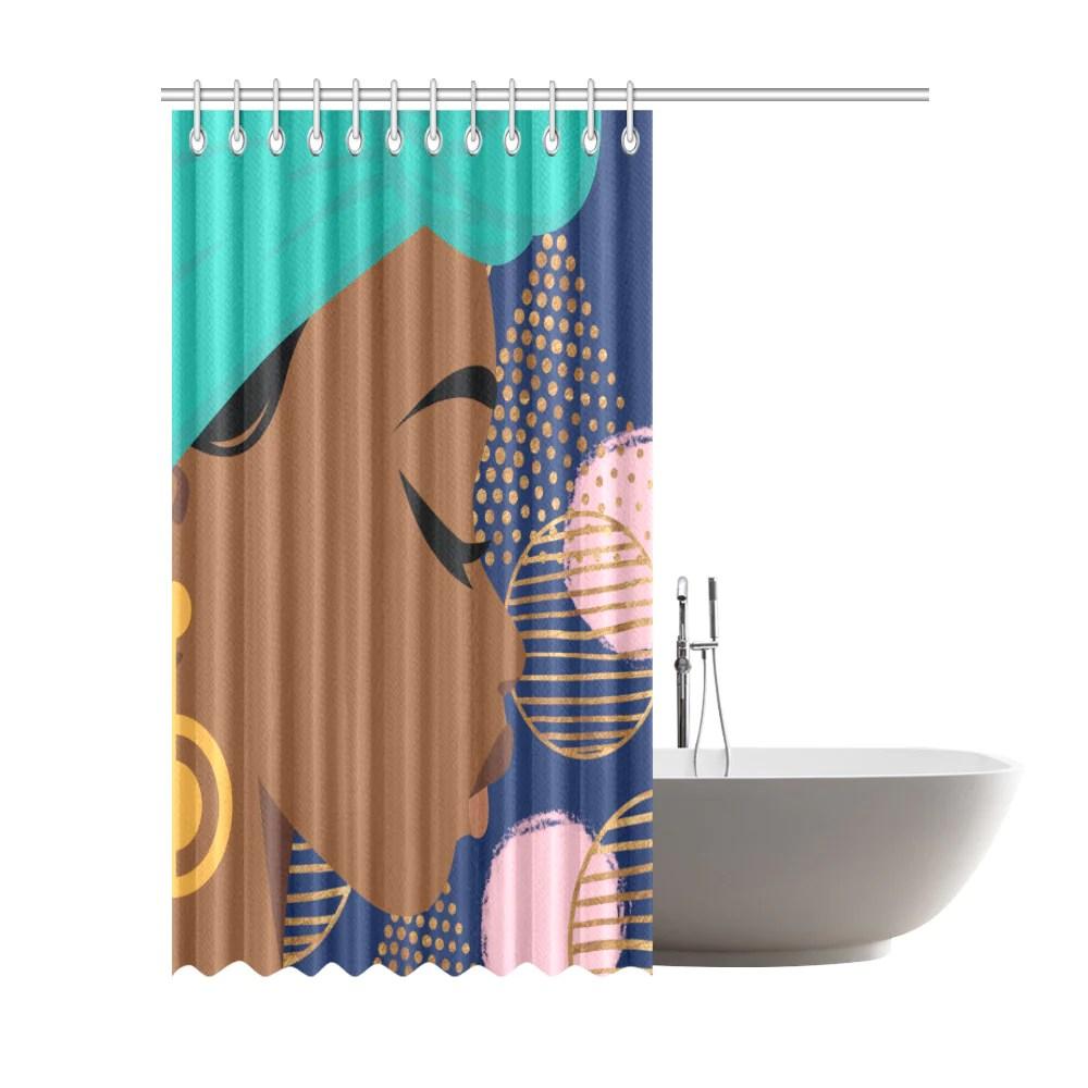 black woman shower curtain