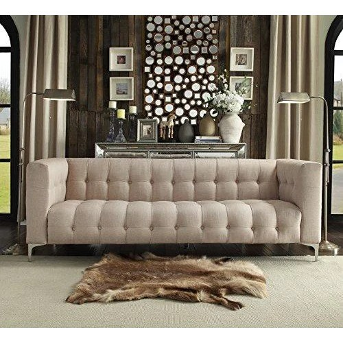 y sofa west end expandable table biscuit tufted stone linen with silver tone metal legs online furniture store