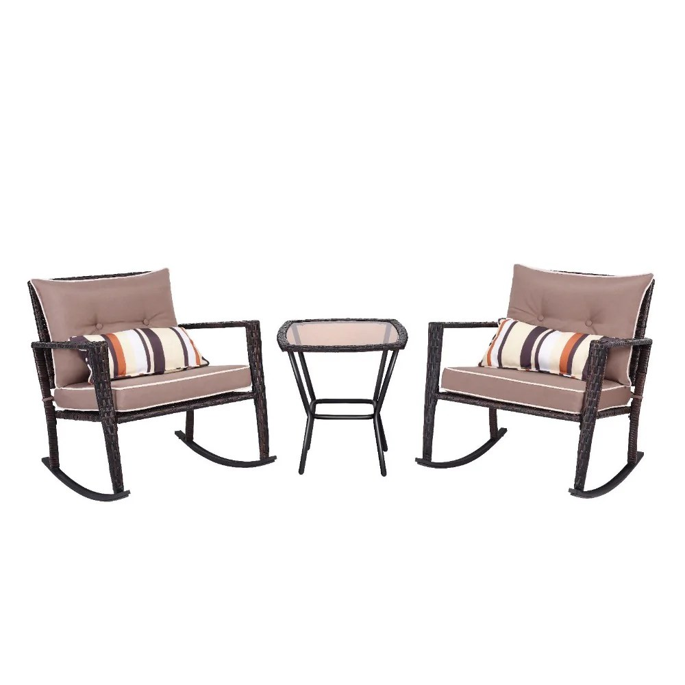Wicker Patio Chair 3 Piece Rattan Wicker Patio Furniture Set