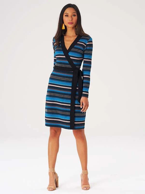 Crystal Teal Ribbed Stripe Kara Dress