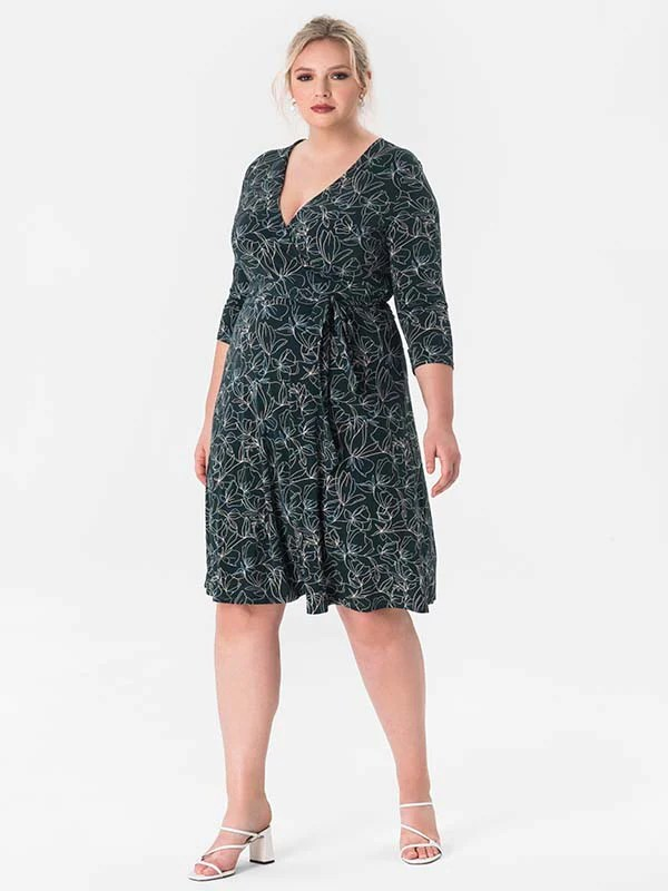 Pine Petiole Perfect Faux-Wrap Dress