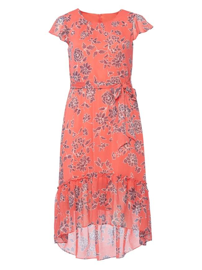 Coral Floral Tie Detail Midi Dress