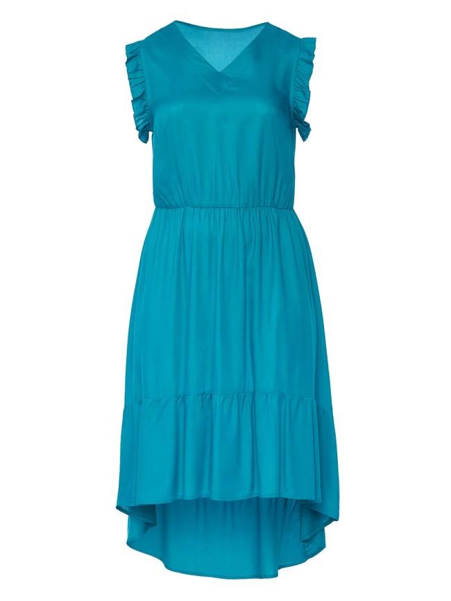 Hi-Lo Hem Teal Midi Dress