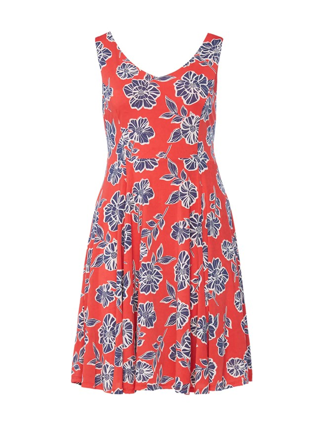 Red Contrast Floral Fit-And-Flare Dress