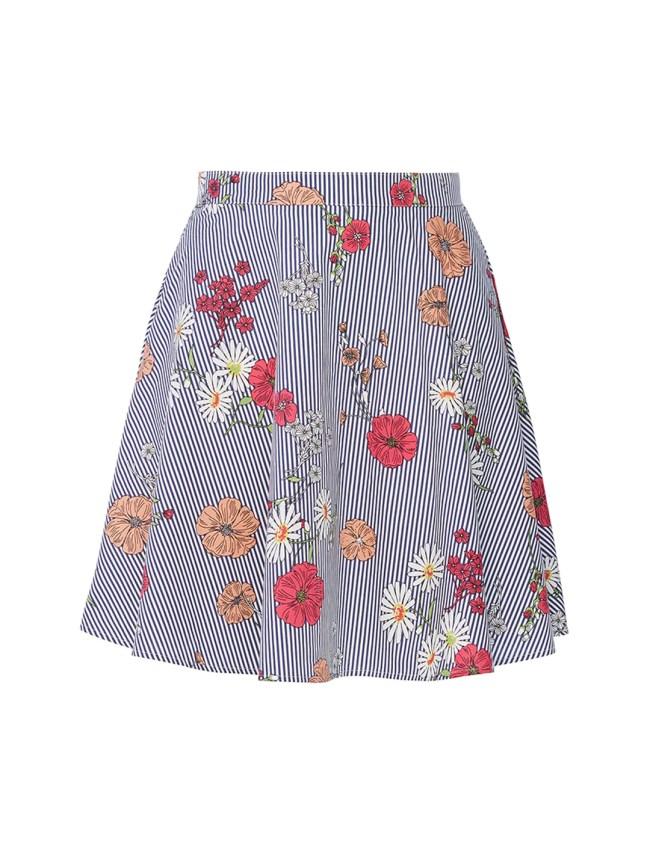 Pin Stripe Floral Skirt