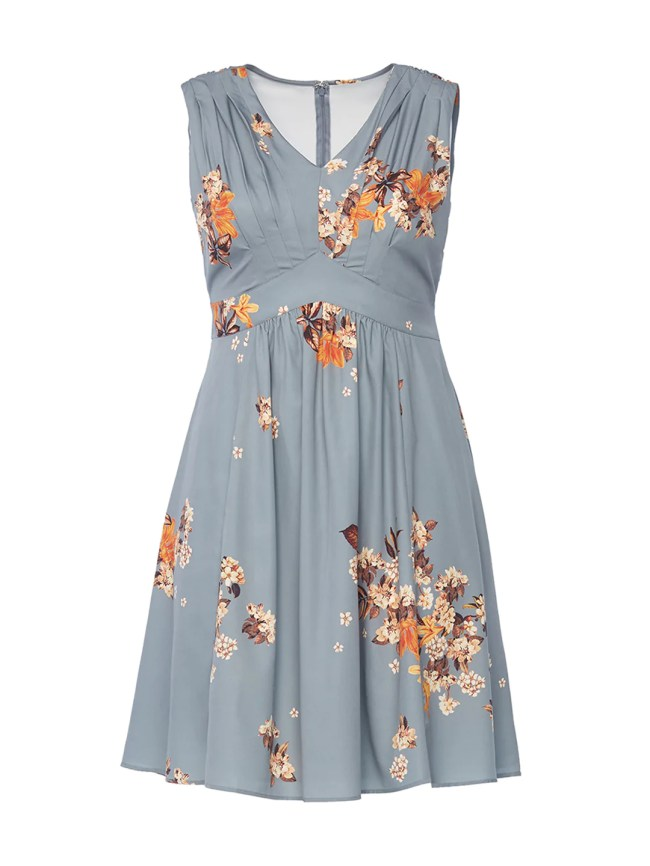 Pleated Floral Fit-And-Flare Dress