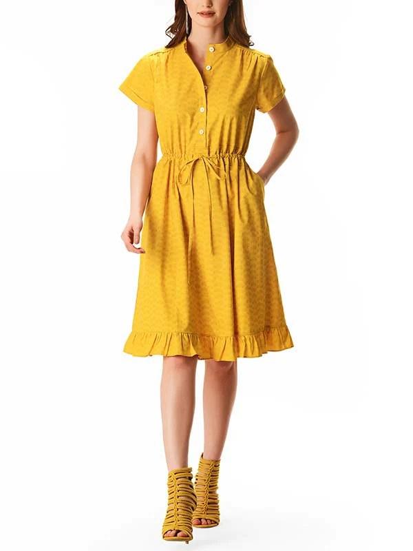 Car Print Tonal Yellow Dress