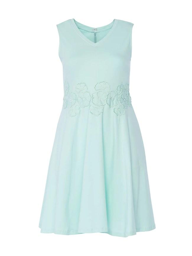 Floral Applique Mint Dress