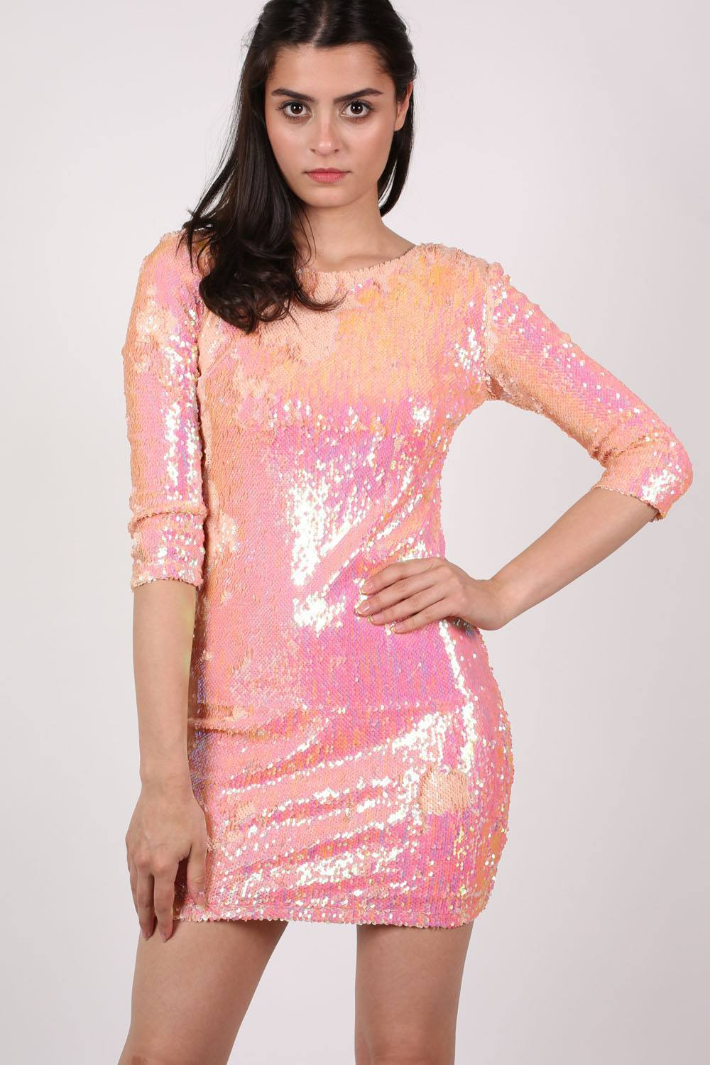 3 4 Sleeve Pink Dresses