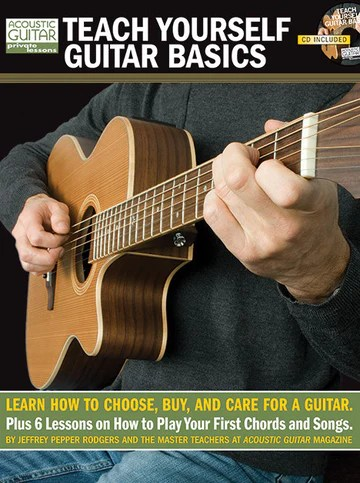 "Book cover for ""Teach Yourself Guitar Basics"" by Jeffrey Pepper Rodgers with subtitle ""Learn how to choose, buy, and care for a guitar. Plus 6 lessons on how to play your first chords and songs"""