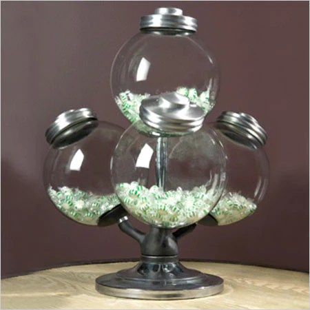 Argentine Candy Jar  swivel base with 4 glass globes