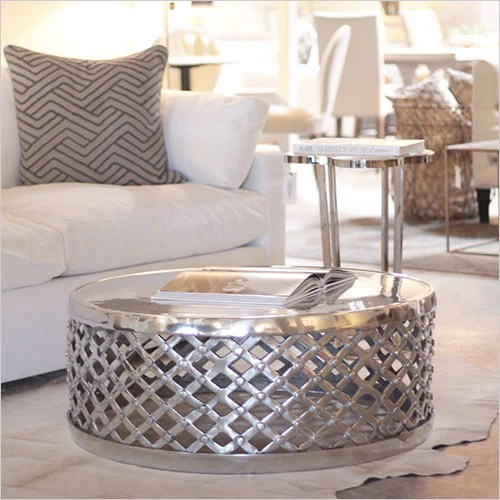 Metal Drum Coffee Table  round polished silver finish  Canvas Interiors  Furniture Store