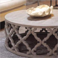 Sofa Table Storage Baskets Flip Out Maya Round Coffee - Elm Wood With Carved Design ...