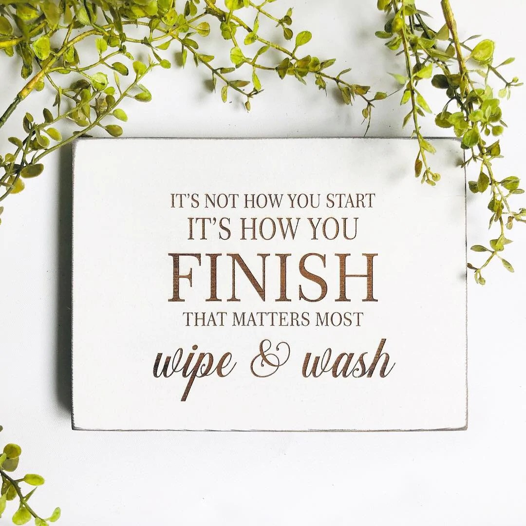 Wipe and Wash Bathroom Farmhouse Sign – Etch and Ember