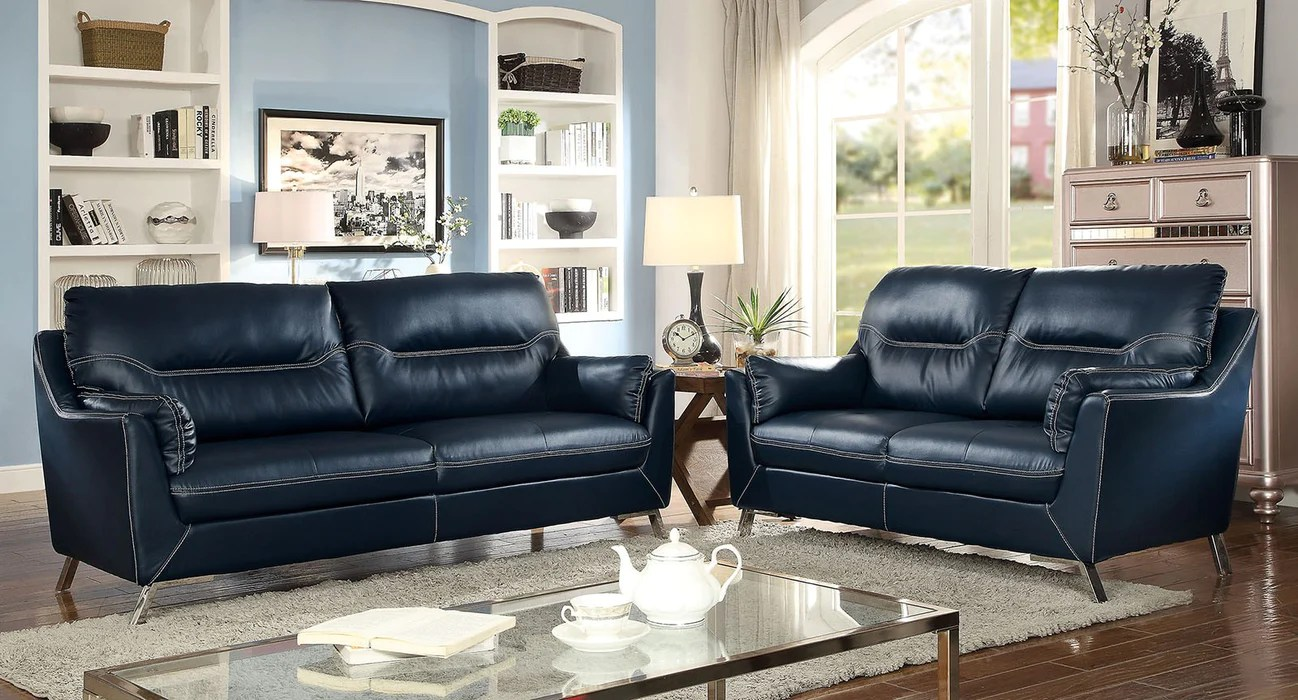 sofas dark blue sofa set in india online nichola leatherette contemporary shack