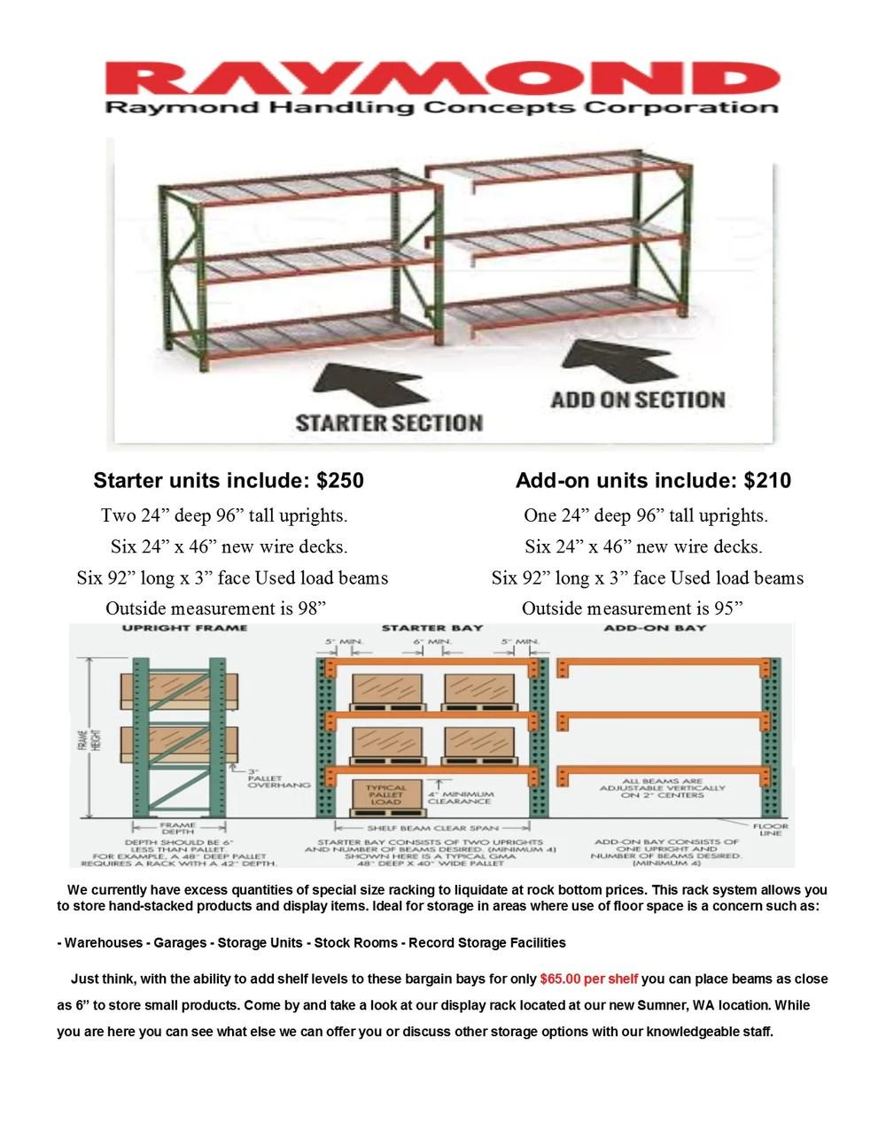 pallet rack starter unit 24 deep x 92 wide x 96 tall 3 shelf starter