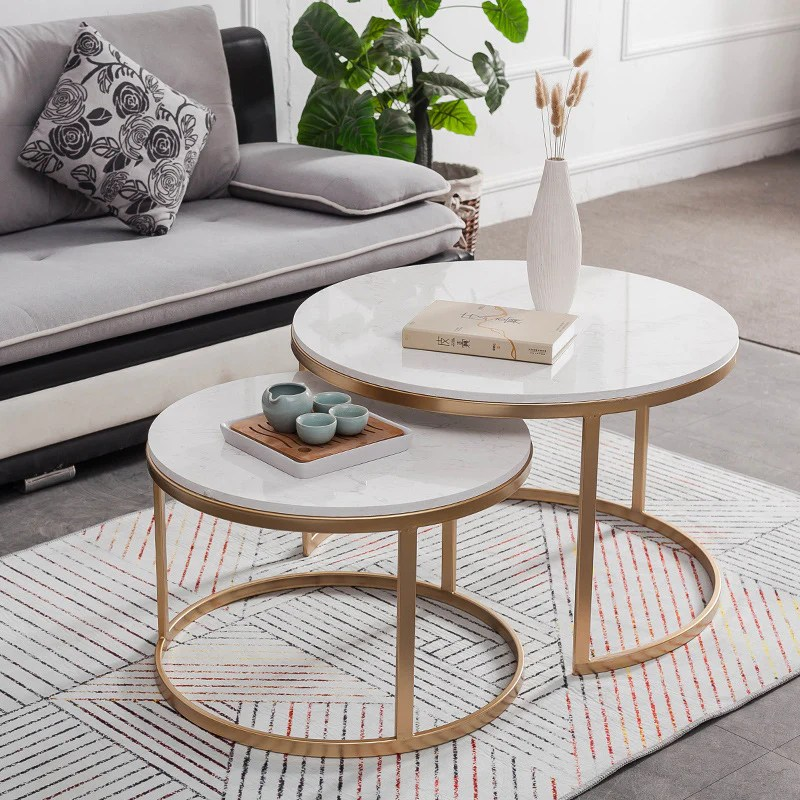 2 pieces nest coffee table marble top with stainless steel frame
