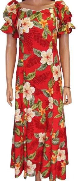 Elegant Hawaiian Dress Leilani in Red  Two Palms Hawaiian Wear Made in Hawaii USA