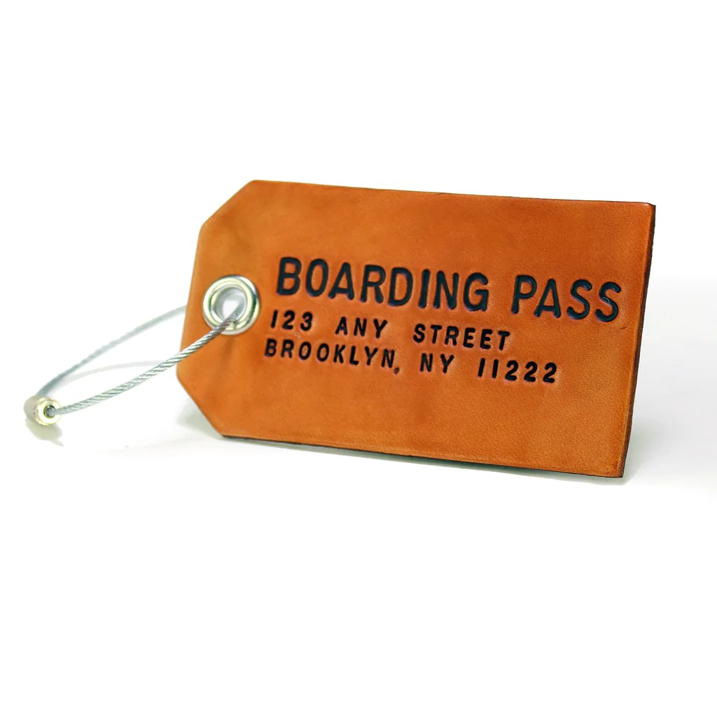 Custom Brown Leather Luggage Or Bag Tag Boarding Pass NYC