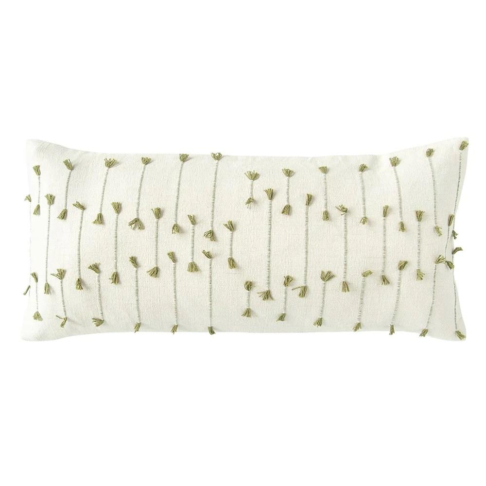 handwoven green cotton blend lumbar pillow