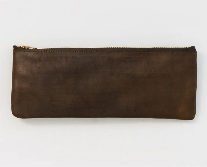 leather pencil pouch brown