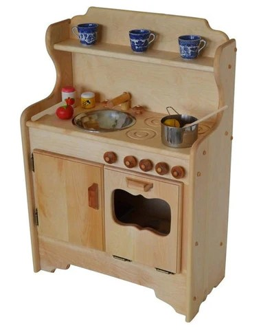 wood kitchen playsets drain clog wooden play kitchens and more elves angels nathan s in light hardwood