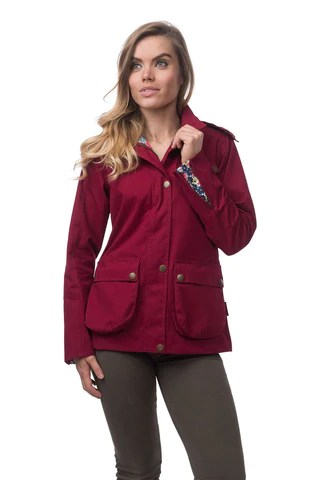 Target Dry Kendal Womens Waterproof Cotton Jacket, Red