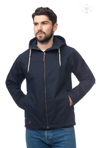 Lighthouse Mens Faroe Waterproof Jacket in Navy. Hood down. Hands in pockets.
