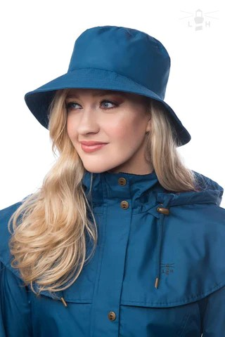 Lighthouse Womens Storm Rain Hat in Deep Sea. Wide Brim.