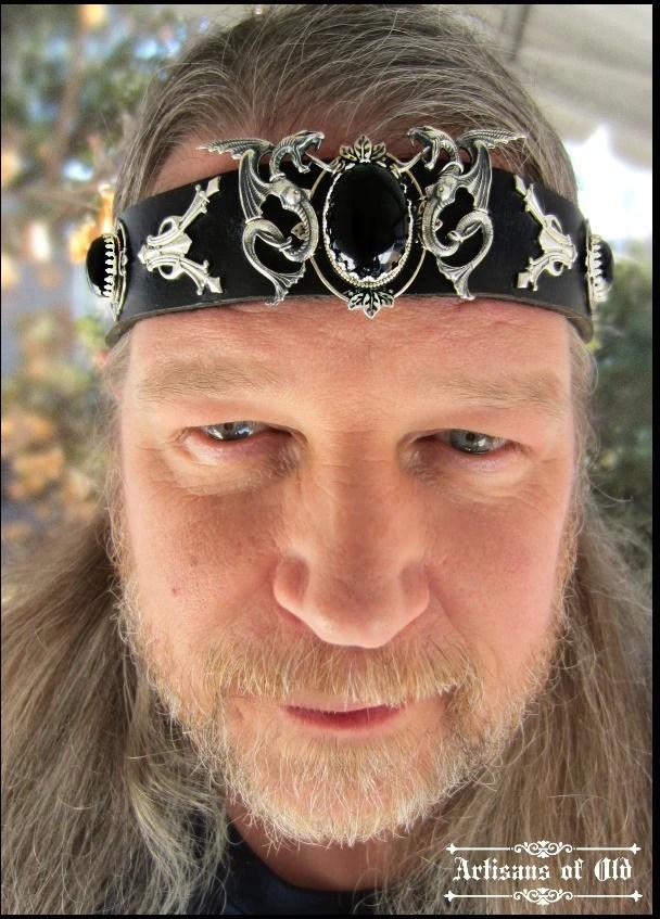Dragon Headpiece Black Onyx Mens Black Leather Headband