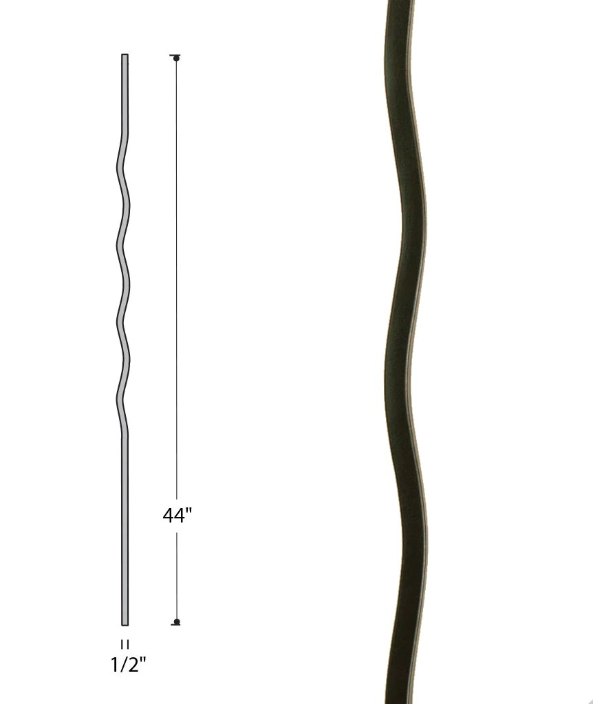 medium resolution of wave iron baluster 2968 stair parts