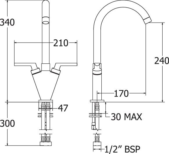Lever mono sink mixer
