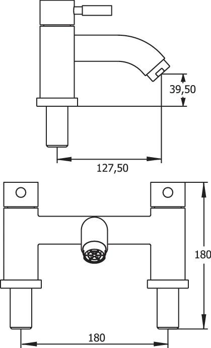 Vision deck mounted bath filler