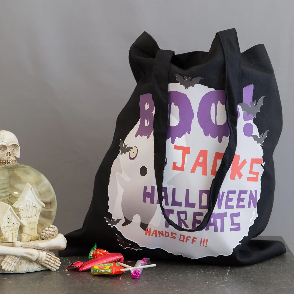 Halloween Trick Or Treat Bag Personalised Ghost Design Children S Not Just A Print