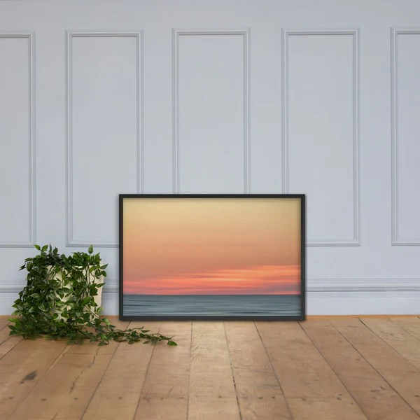 Abstract Color Blend Ocean Sunset as a framed 24 x 36 wall art print