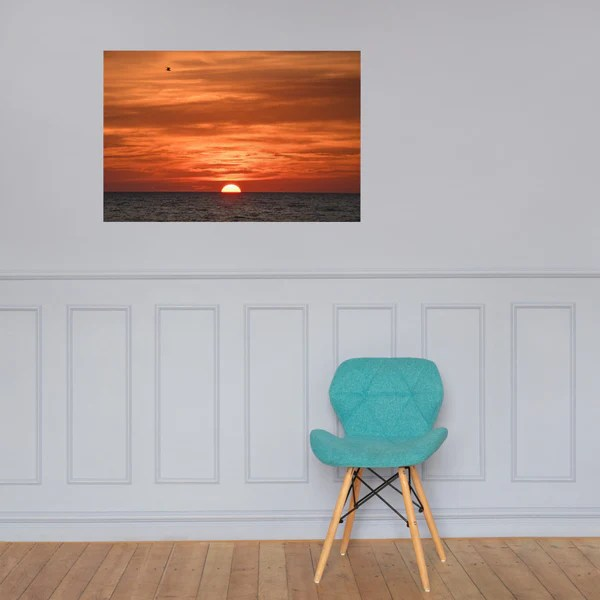 Fire in the Sky - Coastal Sunset as a loose (unframed) wall art print poster