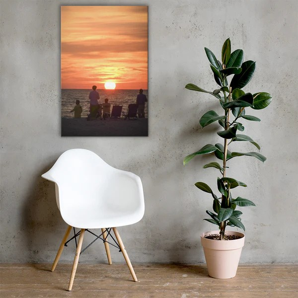 Summer Spectators Coastal Sunset landscape photograph as a classic wall decorating canvas print