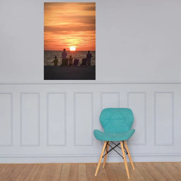 Summer Spectators Coastal Sunset landscape photograph as a loose (unframed) wall art print poster
