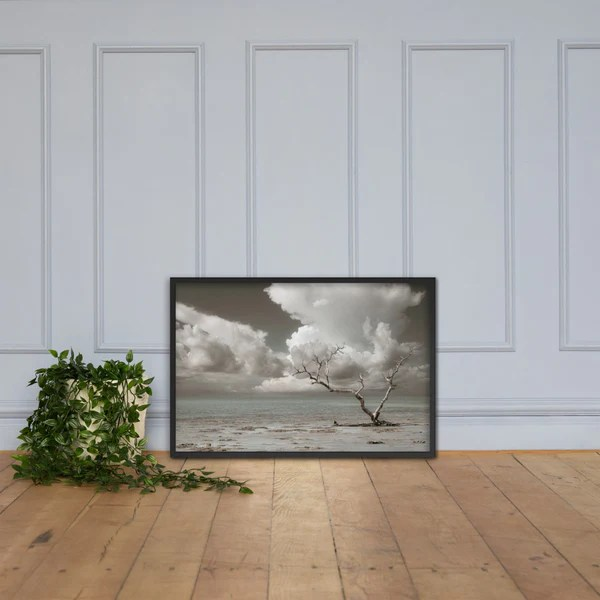 Wanderlust Aged and Colorized landscape photograph as a framed 24 x 36 wall art print
