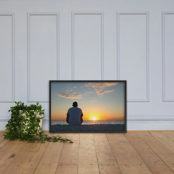 Reflections of The Day Coastal Sunset landscape photograph as a framed 24 x 36 wall art print