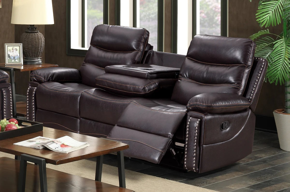 reclining sofa leather brown sleeper furniture liquidators alux a class luxury recliner set with usb and power outlets