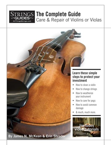 """Guide cover for """"Care & Repair of Violins or Violas: learn simple steps to protect your investment"""" - includes video tutorials."""