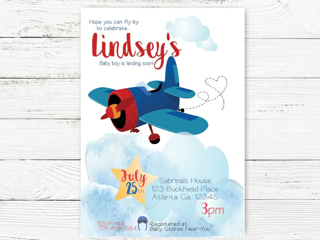 vintage airplane baby shower airplane invite adventure begins party airplane pilot themed party first birthday invitation c129