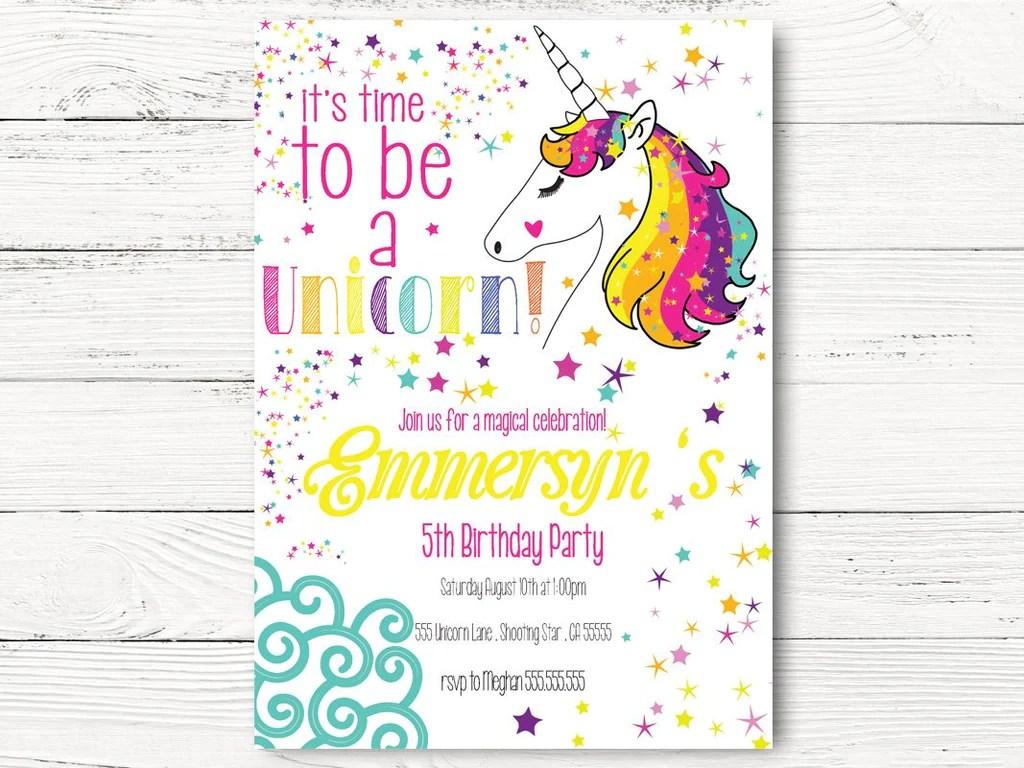 digital rainbow unicorn invitations