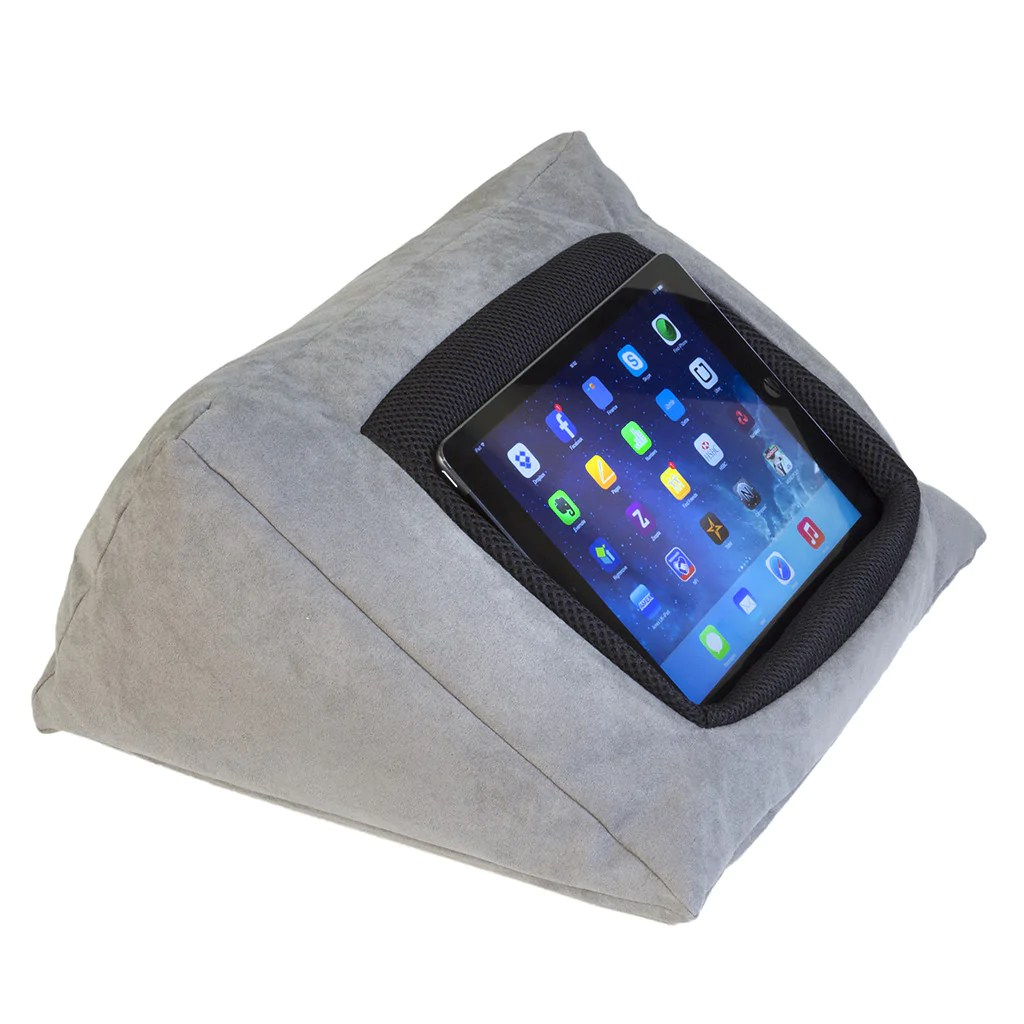 Cushion Pillow Stand Holder For Your Ipad Or Other Tablet This Icushion Is Made From Luxurious Pongee Silk In Grey Be Comfy With Your Ipad In Bed Whilst Watching Films Surfing