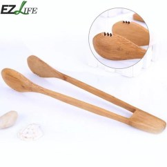 Kitchen Tongs Knife Bamboo Food Clips Cooking Bbq Tool Salad Bacon Steak Bread Cake Wooden Clip